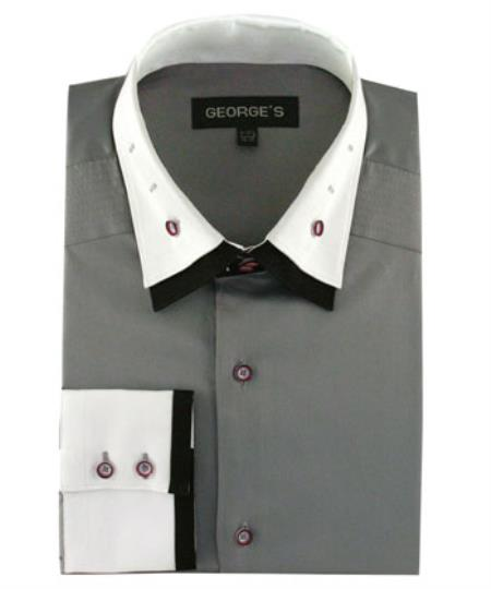 Buy SS-94 Men's Double Spread Collar 100% Cotton Solid Dress Shirt Grey