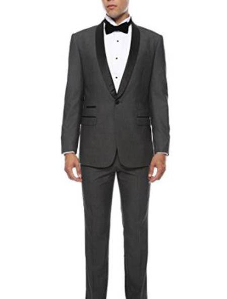 Buy MK461 Mens Slim Fit 1 Button Shawl Collar Dinner Jacket Blazer Sport Coat Black Lapeled Matching Pants Grey Black