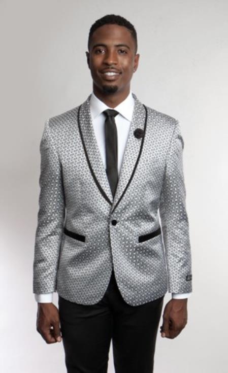 58dfd73eec29 Floral Satin Shiny Grey Tuxedo Dinner Jacket Blazer Paisley Sport Coat  Sequin Shiny Flashy Silky Satin Stage Fancy Party Dance Jacket