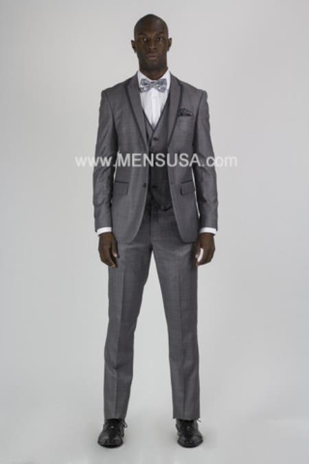Mens Grey Tux ~ Gray Tuxedo Black Lapel Sharkskin Wedding Groom Suit