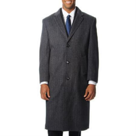 Men's Dress Coat 'Harvard' Grey Herringbone Tweed Blend Long Overcoat ~ Long Men's Dress Topcoat -  Winter coat Tweed houndstooth checkered Pattern