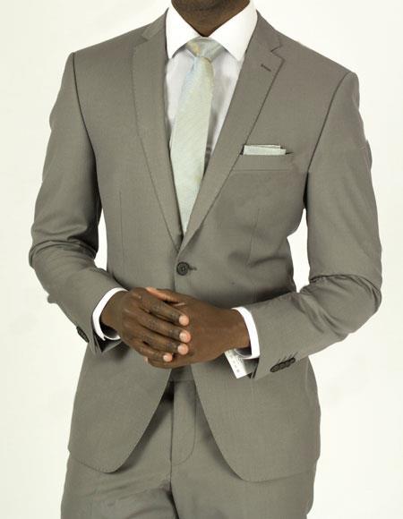 Buy EFTR-612 Mens Pick Stitched 2 Button Grey Slim Fit Skinny Suit