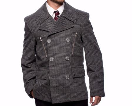 Mens Dress Coat Wool Blend Checkered Double Breasted Vent Peacoat Grey Online Discount Fashion Sale