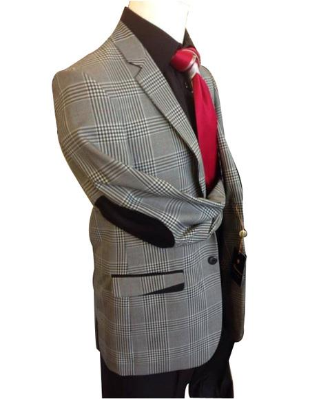 Men's Grey Plaid Pattern Elbow Patches Long Sleeve Jacket
