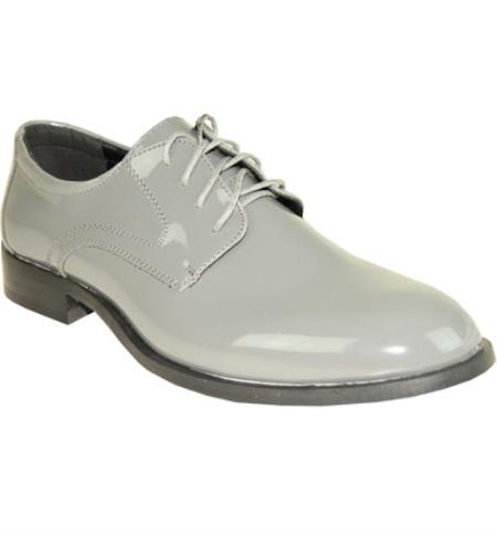 Mens Torino Solid Lace Up Vangelo Tuxedo Shoes Grey