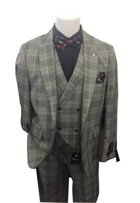 Men's Grey Two Button Closure Plaid Pattern Peak Lapel  Jacket