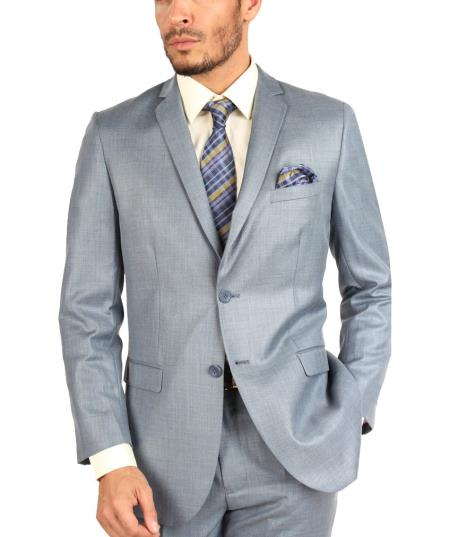 Steel Blue Suit - Light Blue Suit - Sky Blue Sharkskin Texture Men's Slim Fit Suits