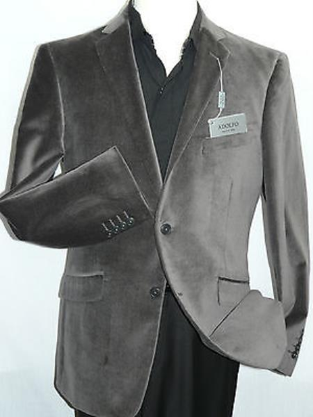 Men's Gray~Grey Velvet Blazer Entertainer Formal or Casua