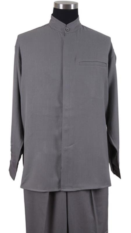 Mens Mandarin Banded Shirt and Matching Solid Pleated Pants Preacher Round Style Collarless Shirt with 1 Besom Pocket Grey Casual Two Piece Walking Outfit For Sale Pant Sets Set