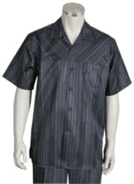 Mens Five Button Closure Spread Collar Short Sleeve and Striped Pattern Suit