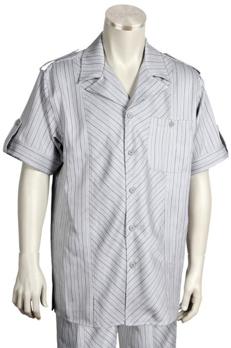 Buy KA8895 Leisure Walking Suit Men's 2 Piece Short Sleeve Walking Suit - Buttoned Accents Gray