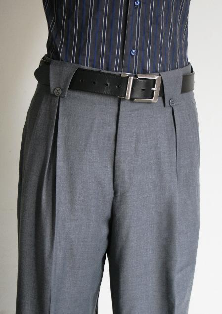 Leonardo Velenti Brand Men's Wide Leg Pants Grey unhemmed unfinished bottom