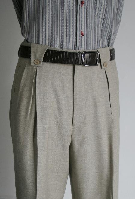 Leonardo Velenti Brand Men's Wide Leg Grey Pants unhemmed unfinished bottom