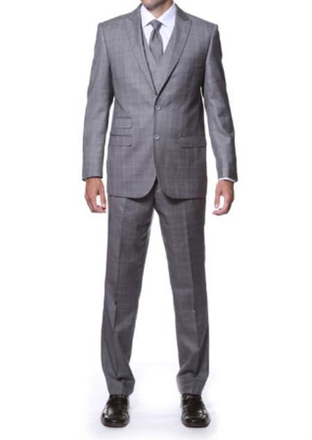 Notch Lapel Side Vent Grey 3 Piece Vested Window Pane Slim Fit Plaid Suit