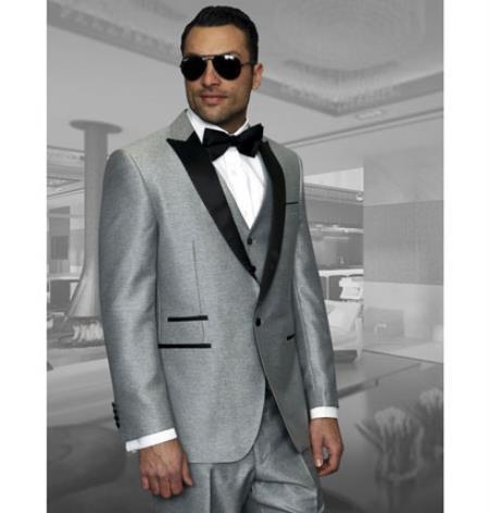 1 Button Vested Peak Lapel Dinner Jacket 3 Piece Wool Tuxedo Suit Light  Grey ~ Gray Suit With Black Lapel Two toned (Silver Color)
