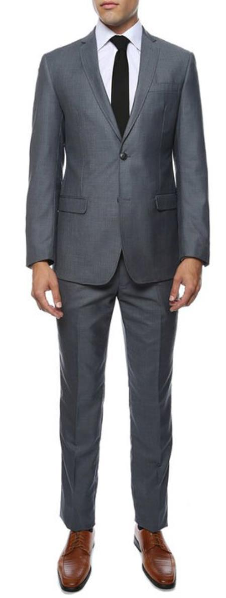 Slim Fit Suit - Fitted Suit Mens Grey or Blue Flat Front Pants Tapered Jacket Mens Slim Fit Suits