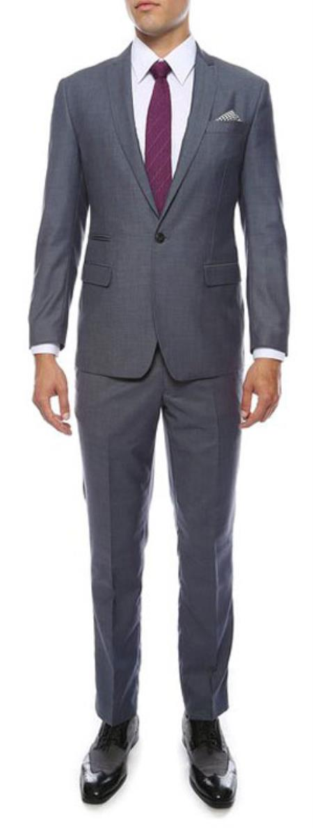 Mens Extra Slim Fitted Skinny Flat Front Pants Tapered Jacket and Pants Grey/Blue Peak Lapel Suit