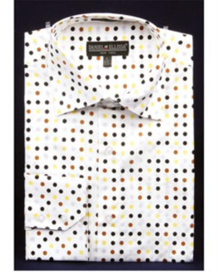 Buy SS-GQ22 Mens High Collar Shirts DE Brown Big Cuff Polka Dot
