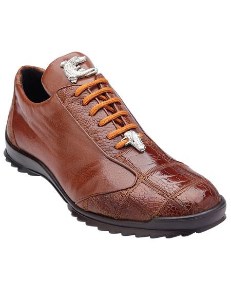 Mens Authentic Genuine Skin Italian Paulo Honey Genuine Ostrich / Soft Calfskin Casual Dress Sneaker