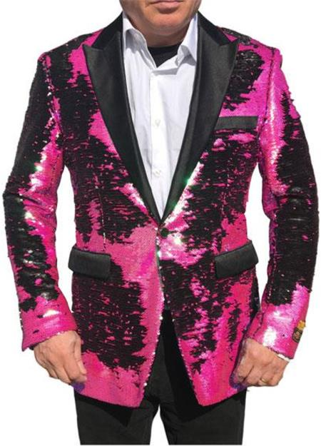 Alberto Nardoni Brand Fashion Men's Fuchsia Pink & Black Lapel Blazer ~ Sport Coat Tuxedo Dinner Jacket Sequin ~ Shiny Paisley