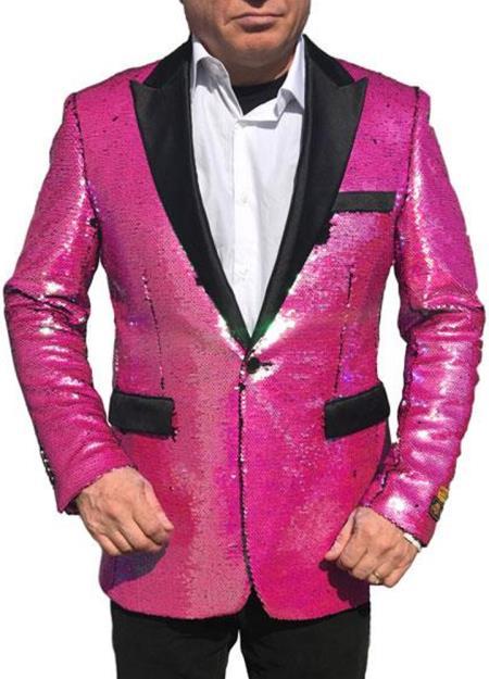 Fashion Alberto Nardoni Hot Pink ~ Fuchsia Shiny Sequin Tuxedo Black Lapel paisley look sport jacket ~ coat