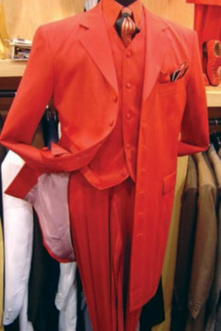 SKU# TE93 Mens Hot Red 3 Piece Fashion Zoot Suit + Shirt + Tie + Vest Package $169