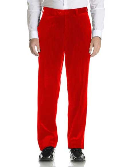 Men's Hot Red Velvet Flat Front Modern Fit Pant