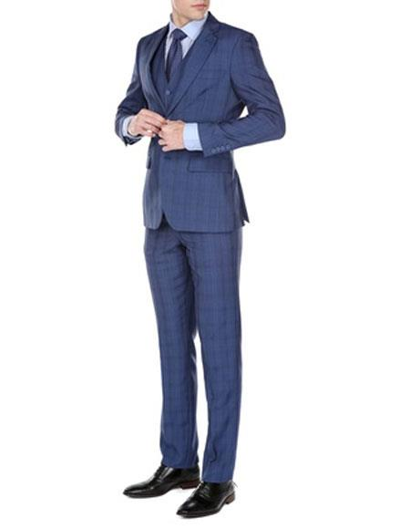 1960s Men's Clothing, 70s Men's Fashion Mens Two Button Plaid Check Pattern Notch Lapel Three Piece Modern Fit Vested Suit Indigo $159.00 AT vintagedancer.com