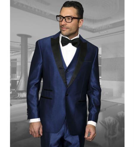 Mens 3 Piece Wool Tuxedo 1 Button Vested Peak Lapel Dinner Jacket Indigo ~ Bright Blue