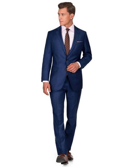 Mens Ink Blue ~ Cobalt ~ New Blue (Lighter than Dark navy) 2 Button Wedding or business Midnight blue Suit