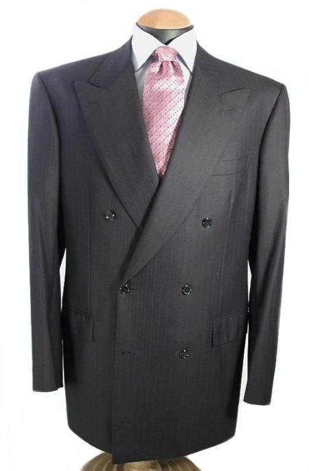 SKU# EFQ994 Mens Italian premier quality italian fabric Signature Double Breasted Wool Suits in Enchlish Charcoal ( Dark Grey Almost B