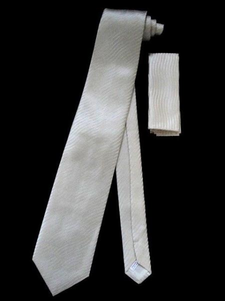 Neck Tie W Hankie Ivory Hidden Design