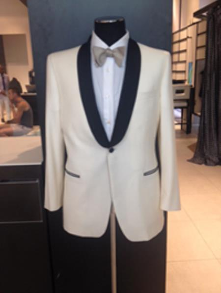 Alberto Nardoni Brand Mens Dress Formal Ivory ~ Cream ~ Off White Dinner Jacket ~ Tuxedo ~ Blazer ~ Sport Coat Black Lapel