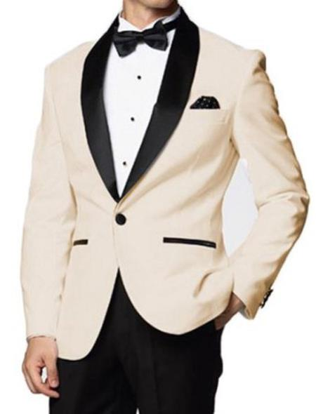 SKU#MK644 Mens Downtown Ivory and Black Skyfall Tuxedo Jacket