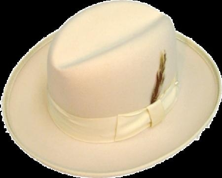 SKU# IIJ858 GODFATHER NEW MENS Ivory Off White 100% Wool Homburg Dress Hat 4201