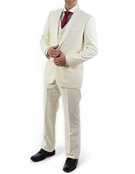 Ivory ~ Cream ~ Off White 3 Piece Shawl Lapel Tuxedo Suit Vested Mens Suit 100% wool Super 150s