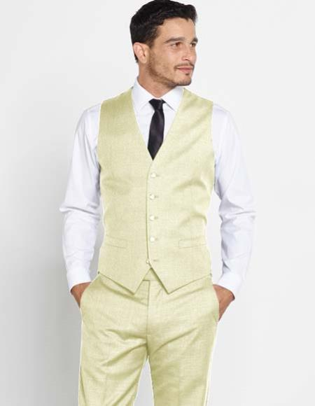 Mens Wool Vest With Matching Ivory Regular Fit Dress Pants Set + Any Color Shirt & Tie