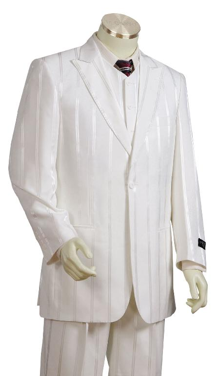 Mens 3 Piece Off white Cream Ivory Zoot Suits For Men Shadow Stripe tone on tone