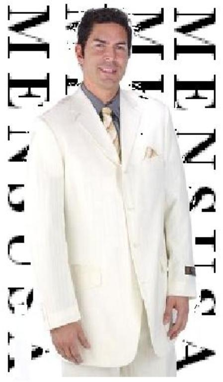 SKU# DN4 Mens Ivory Off White 3 Buttons Mens Dress Fashion Suits