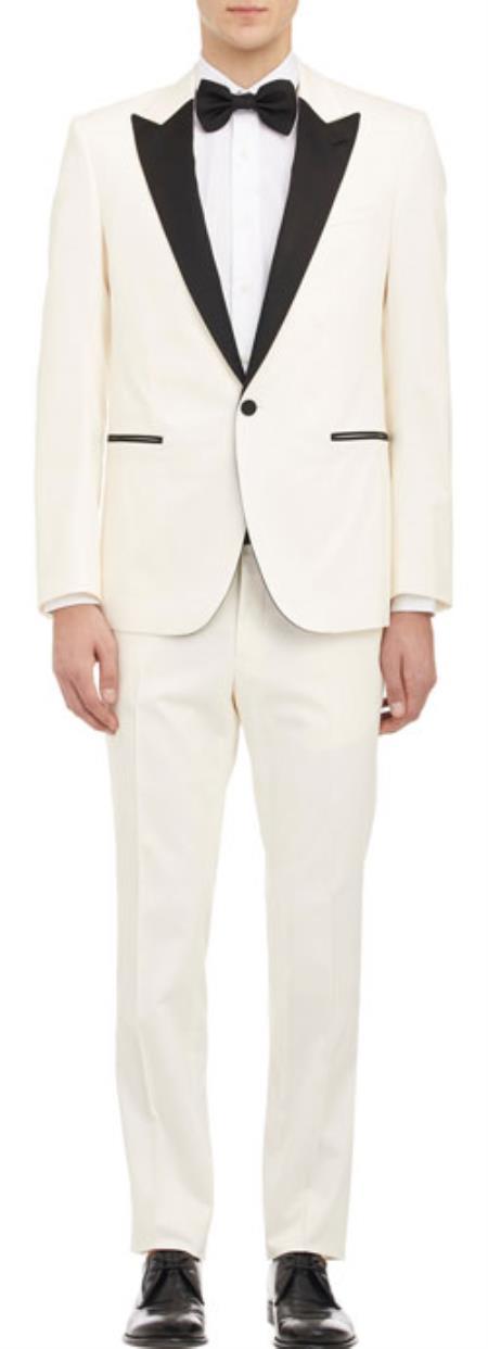 Mens Cream ~ Off White ~ Ivory Tuxedo 1 Button With Black