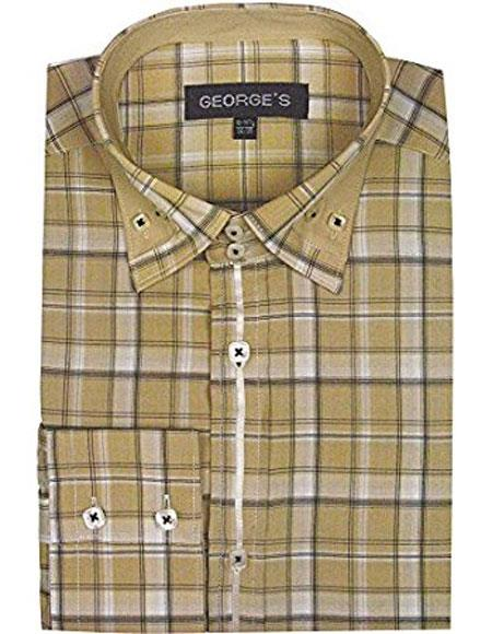 Classic Khaki Long Sleeve Plaids And Checks Pattern Casual Mens Dress Shirt