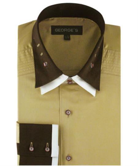 Mens Khaki 100% Cotton dress Solid Color Double Spread Collar