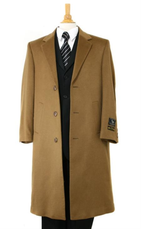 Long Wool Winter Dress Knee length Coat Mens Dress Coat Luxurious soft finest Pure Cashmere&Wool Full Length Dark Camel ~ Khaki Topcoats