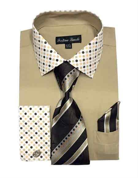 Fashionable Khaki Solid/Polka Dot Pattern With Tie & Hanky French Cuff Men's Dress Shirt