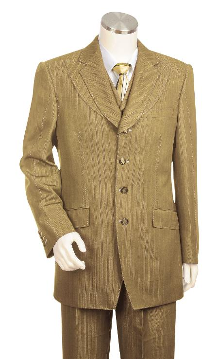 SKU#GY9830 Mens High Unique Exclusive Fashion 3 Piece Camel ~ Khaki Suit