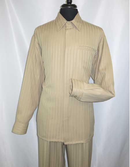 Mens Tone On Tone Long Sleeve Khaki Hidden Buttons Casual Two Piece Walking Outfit For Sale Pant Sets Shirt + Pant Set