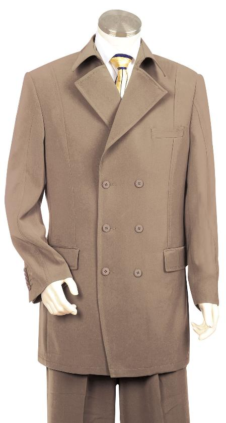 Mens Triple Breasted 6 Button Double Breasted Fashion Suit Khaki Pleated Pants