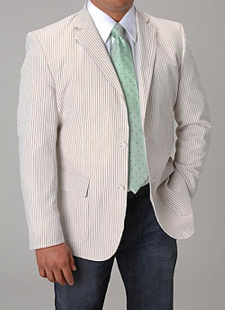 SKU#PN-J55 Summer Light Wright Sport coat Khaki ~ Tan ~ Beige seersucker ~ sear sucker Blazer
