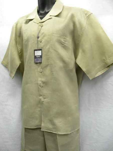 Khaki Mens Big Size Linen 2 Piece Short Sleeve Casual Outfit Casual Two Piece Walking Outfit For Sale Pant Sets Suit