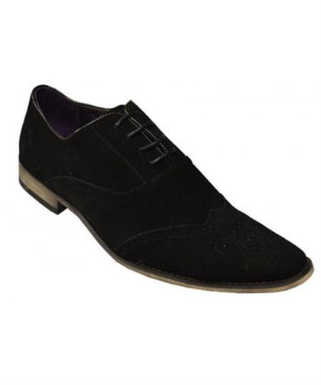 SKU#SS-26T7 Zota Brand Black Genuine Suede Leather Perforation Shoes